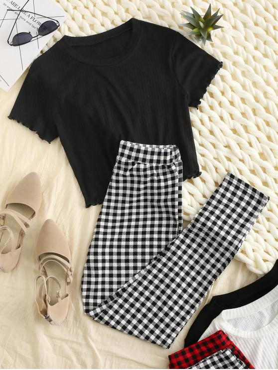 outfits Lettuce Trim Plaid High Waisted Pants Set - BLACK S