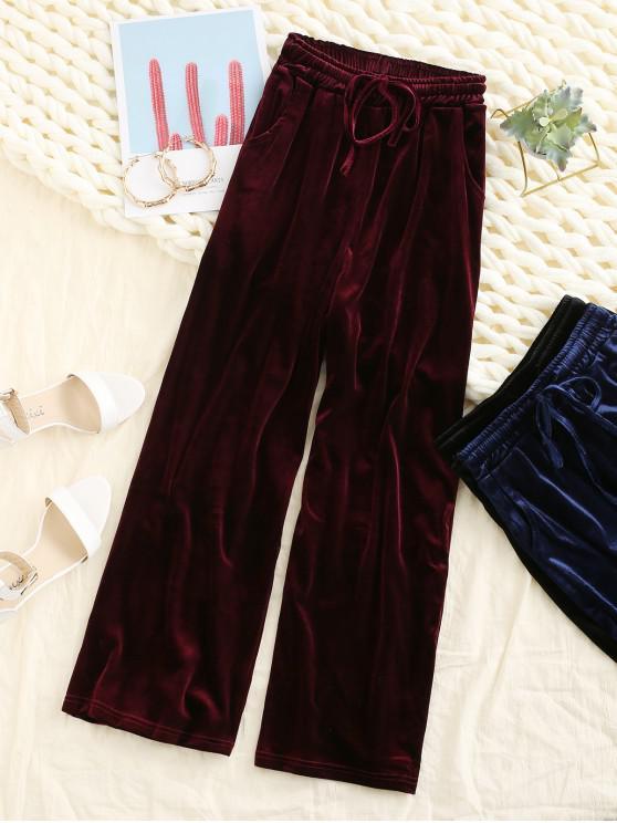 women Velvet Pocket Drawstring Wide Leg Pants - RED WINE 2XL