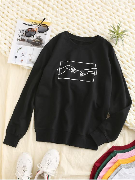 ZAFUL Sweat-shirt de Base Main Graphique - Noir M