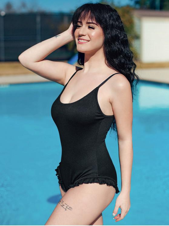 hot ZAFUL Tie Frilled Ribbed One-piece Swimsuit - BLACK L