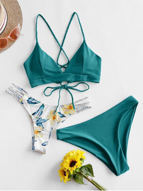 trendy ZAFUL Flower Braided Lace Up Three Pieces Bikini Swimsuit - SEA TURTLE GREEN S