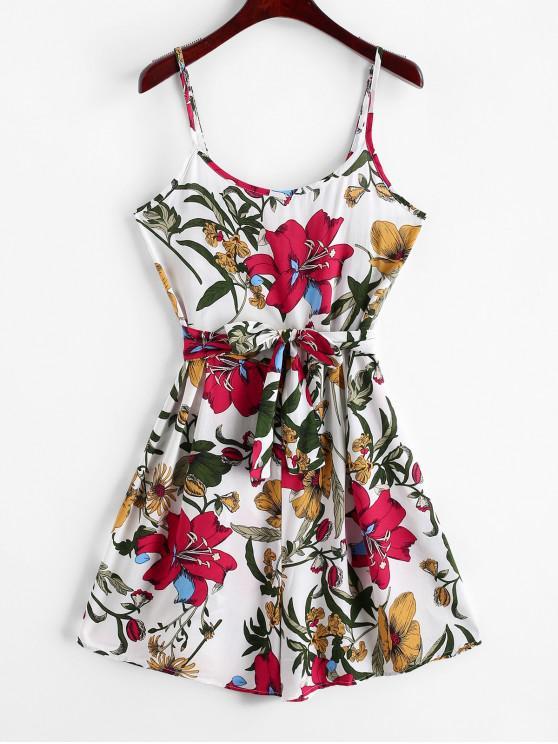 ladies Belted Floral Print Wide Leg Cami Romper - WHITE M