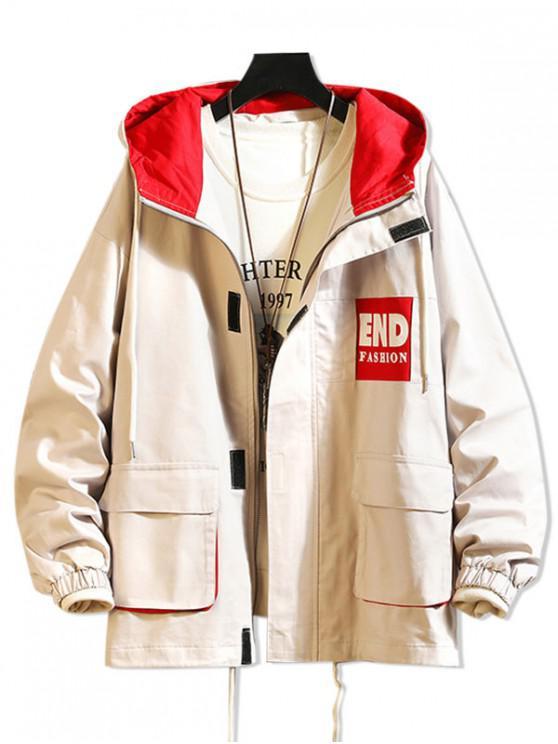 unique Letter Pattern Pocket Zip Hooded Jacket - LIGHT KHAKI M