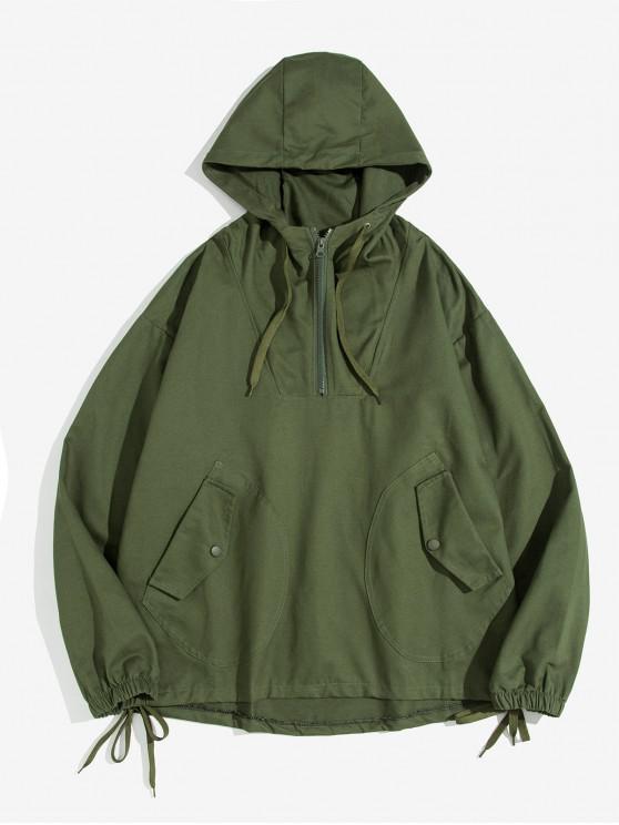latest Letter Print Half Zipper Drawstring Pocket Hoodie - ARMY GREEN 2XL