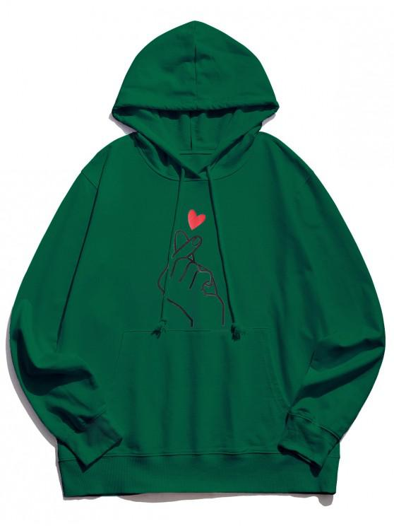sale Finger Heart Graphic Pouch Pocket Casual Hoodie - JUNGLE GREEN S