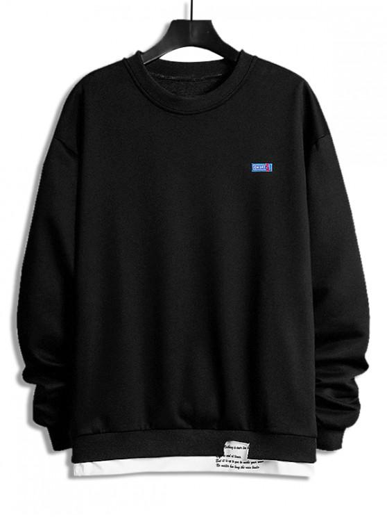 fancy Letter Print Colorblock Splicing Sweatshirt - BLACK S