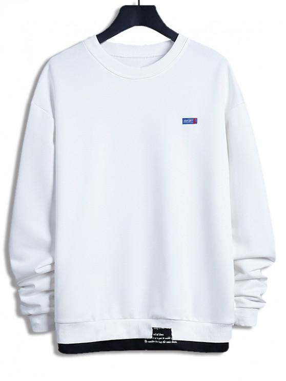 new Letter Print Colorblock Splicing Sweatshirt - WHITE S