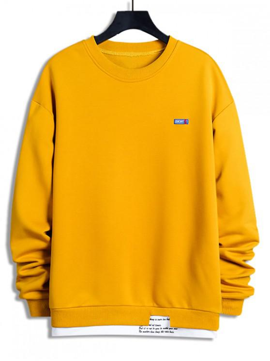 outfit Letter Print Colorblock Splicing Sweatshirt - SUN YELLOW XL