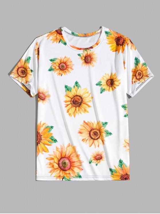 outfit Short Sleeve Sunflower Print Vacation T-shirt - SUN YELLOW 3XL