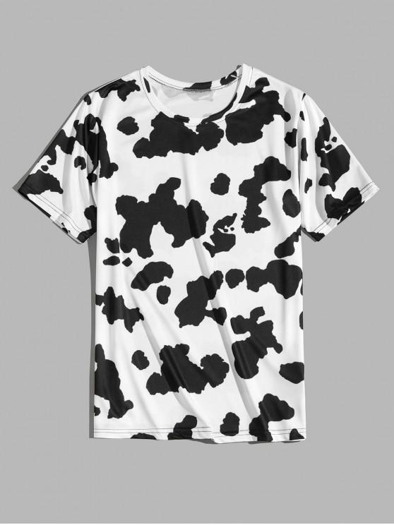 online Cow Print Short Sleeve T-shirt - BLACK L