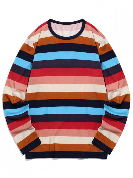 fancy Colorful Striped Print Long-sleeved T-shirt - MULTI-A XL