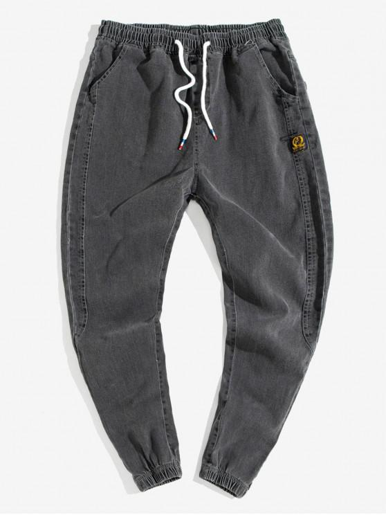outfits Applique Stitching Drawstring Jogger Jeans - GRAY L