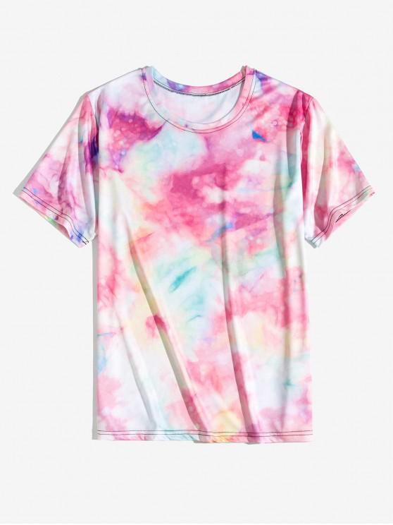 latest Tie Dye Printed Short Sleeve Tee - PIG PINK L