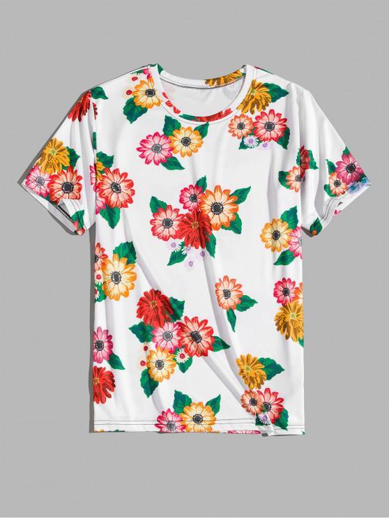 women Flower Print Vacation T-shirt - WHITE L