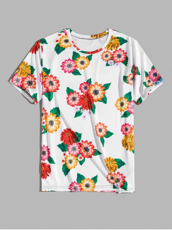 new Flower Print Vacation T-shirt - WHITE XL