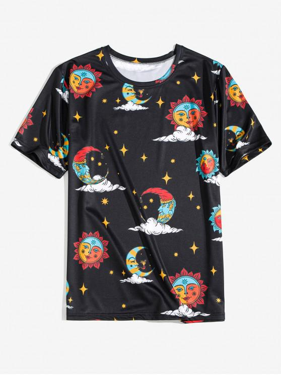 fashion Funny Cartoon Sun and Moon Print Tee - BLACK 3XL
