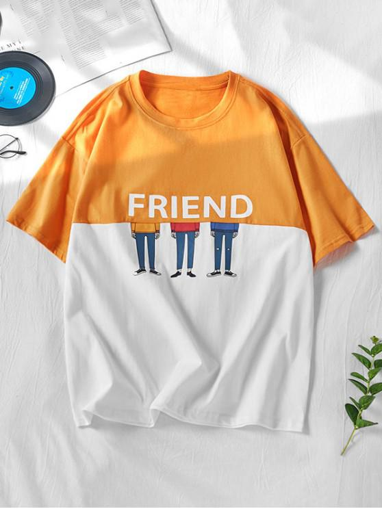 unique Two Tone Friend Cartoon Character Print Short Sleeve T-shirt - RUBBER DUCKY YELLOW XL