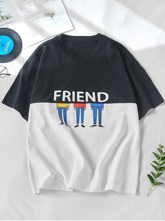 new Two Tone Friend Cartoon Character Print Short Sleeve T-shirt - BLACK XL