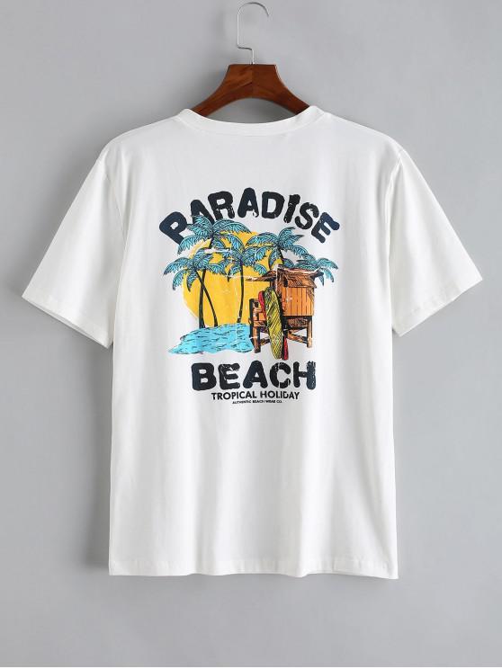 trendy ZAFUL Beach Paradise Palm Tree Print Short Sleeve T-shirt - WHITE 2XL