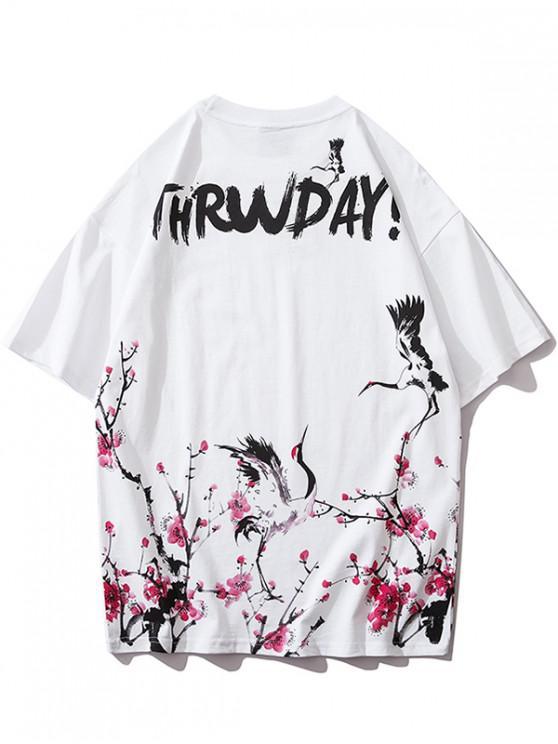 women Flying Crane Flower Letter Print T-shirt - WHITE XL
