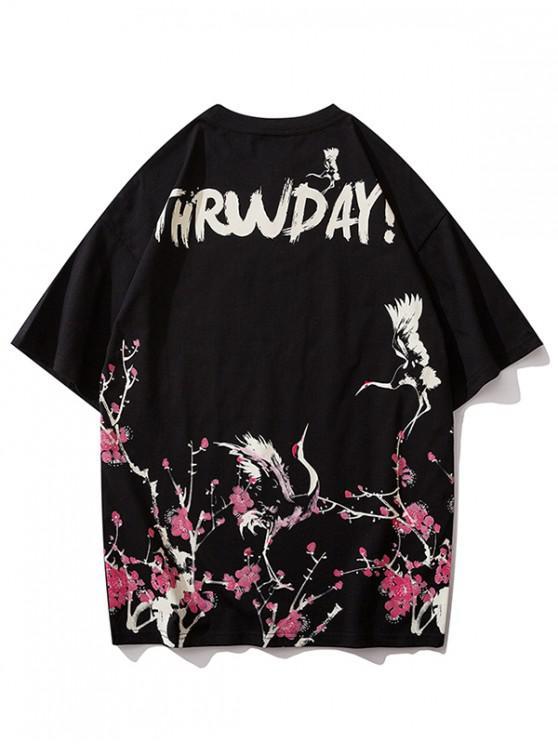 Футболка Принт летающего журавля и цветка и журавля - Чёрный S