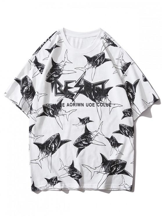 fancy Shark Allover Letter Graphic Print Short Sleeve T-shirt - WHITE M