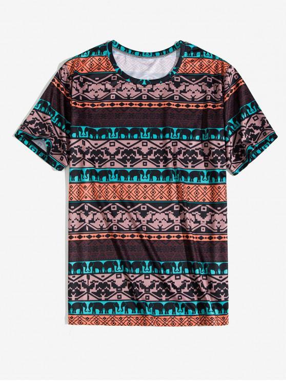 fancy Tribal Animal Geometric Print Short Sleeve Tee - COFFEE XL