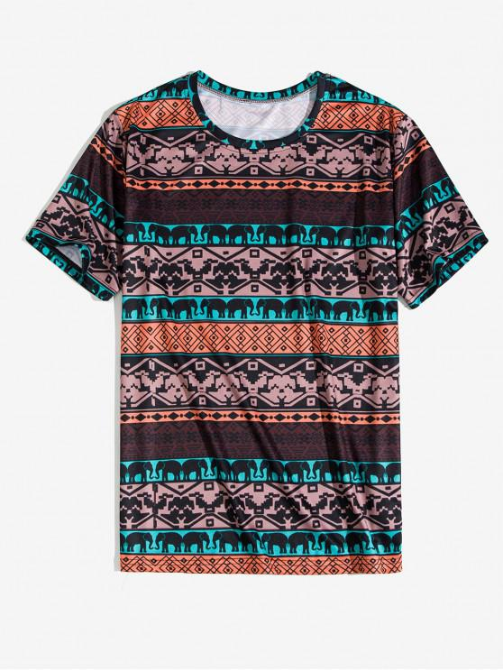 women Tribal Animal Geometric Print Short Sleeve Tee - COFFEE L