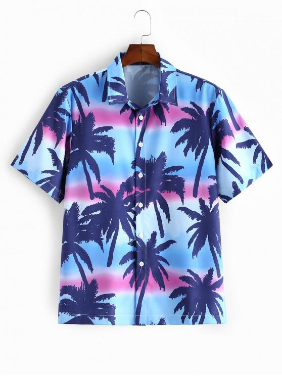 new Coconut Tree Print Short Sleeves Button Shirt - CRYSTAL BLUE 2XL