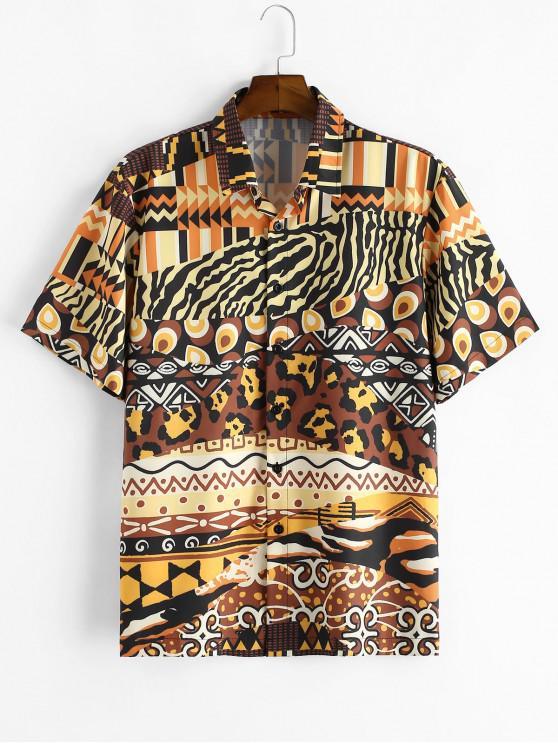 Camisa de Manga Corta con Estampado de Animal de Leopardo - café L