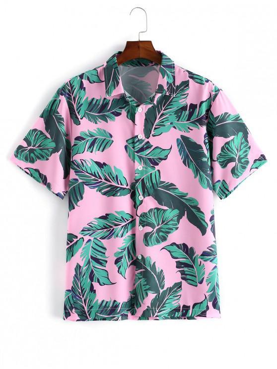 عارضة ورقة نمط زر قميص بأكمام قصيرة - زهري L