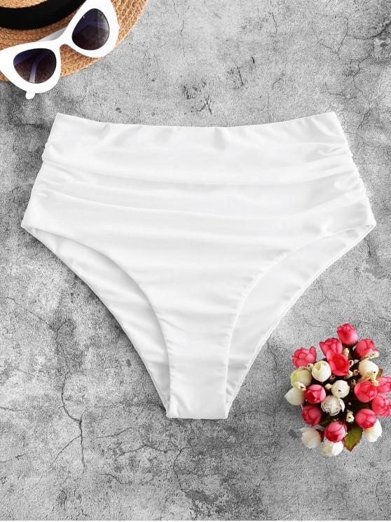 affordable ZAFUL High Waisted Tummy Control Bikini Bottom - WHITE S