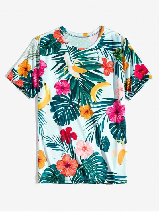 Fiore tropicale Banana Leaf Stampa vacanze T-shirt - Blu Leggero 2XL
