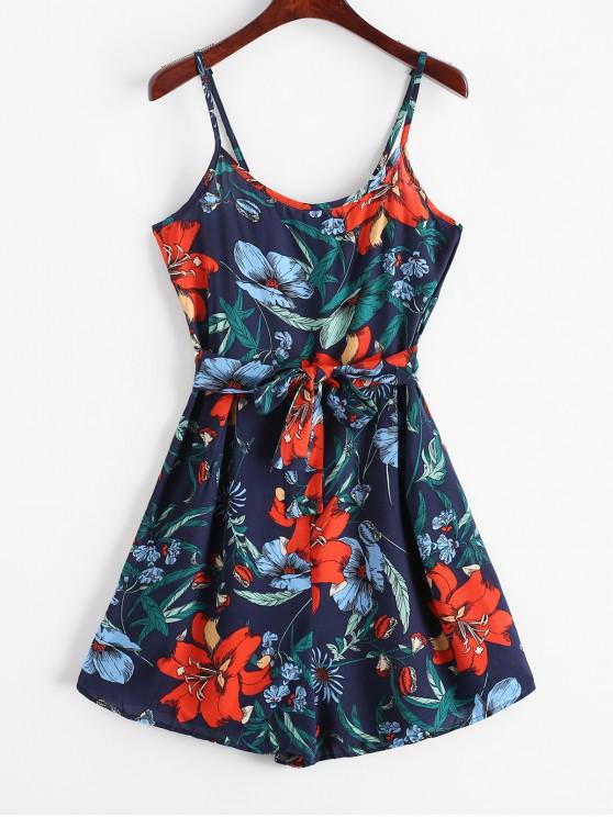women Belted Floral Print Wide Leg Cami Romper - BLUE S