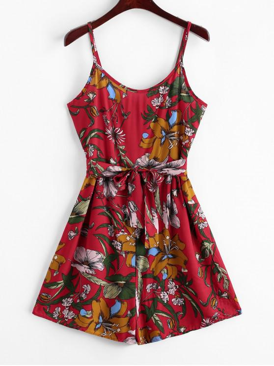 buy Belted Floral Print Wide Leg Cami Romper - RED S