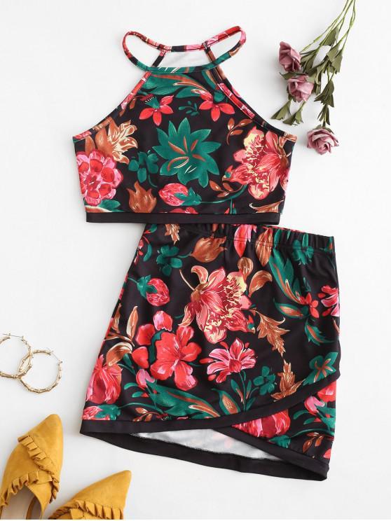 ladies Floral Print Asymmetric Two Piece Suit - BLACK XL