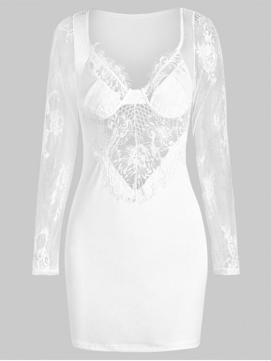 Sleepwear ciglia pizzo Vestito a bustino Panel - Bianca S