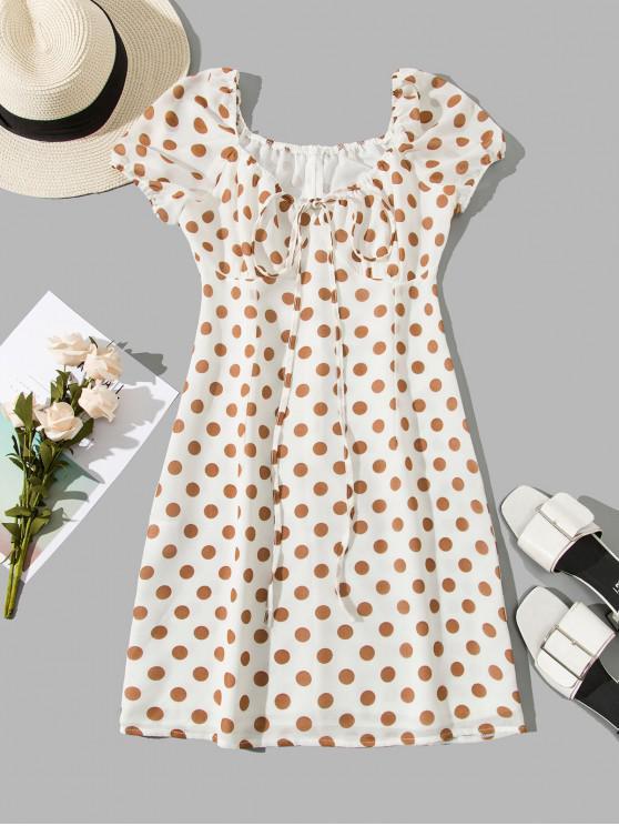 Vestido de Racha mangas compridas com marcas de bolinhas - Branco M
