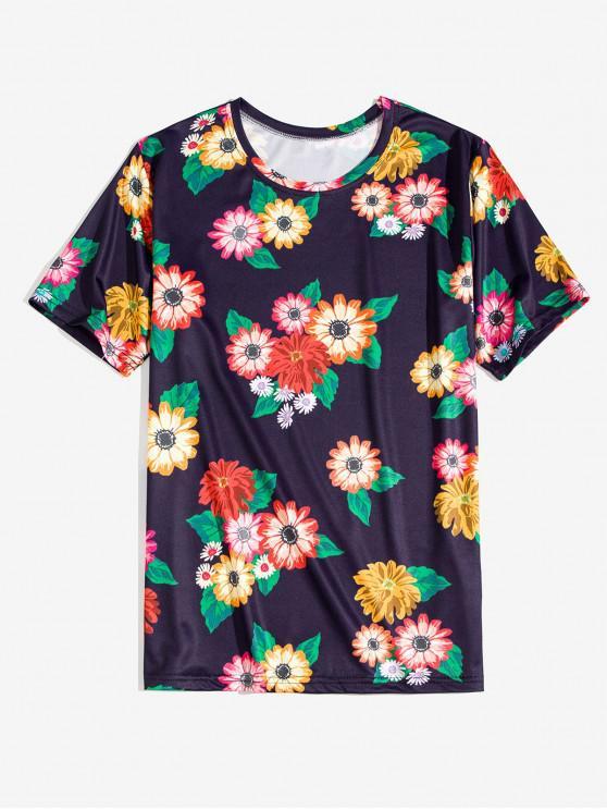 Fiore Allover Print vacanze T-shirt - Blu Mezzanotte  2XL