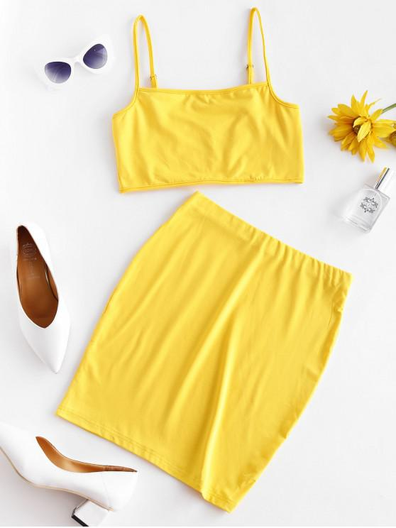 online Solid Color Bodycon Two Piece Suit - YELLOW XL