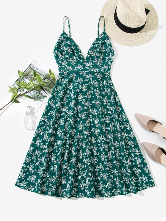 unique ZAFUL Smocked Back Ditsy Floral Cami Dress - SEA TURTLE GREEN S