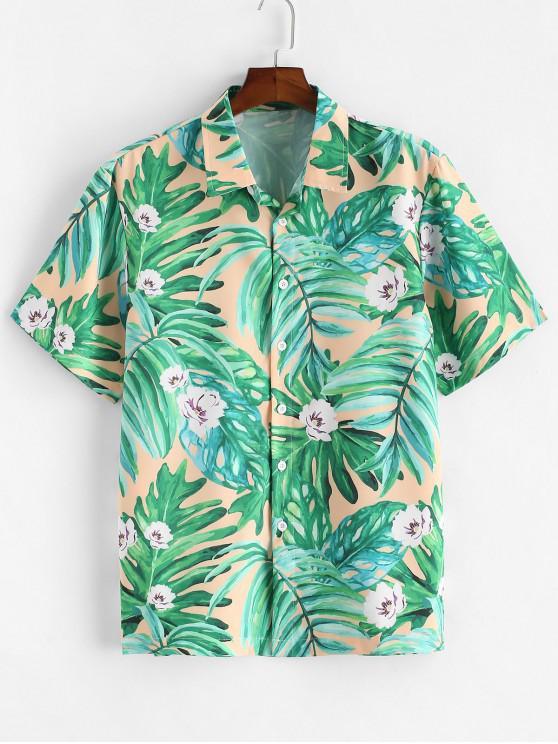 Blatt Blumen Bedrucktes Hemd mit Kurzen Ärmeln - Kleeblatt Grün XL