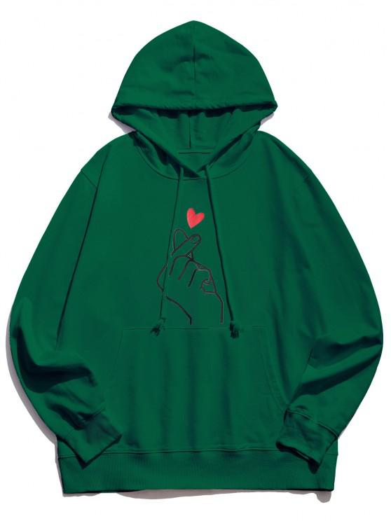 unique Finger Heart Graphic Pouch Pocket Casual Hoodie - JUNGLE GREEN 2XL