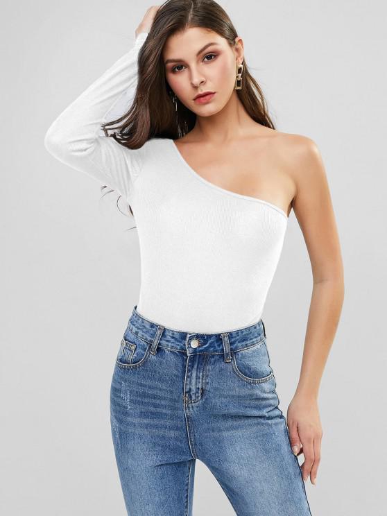 unique One Shoulder High Cut Ribbed Bodysuit - WHITE XL