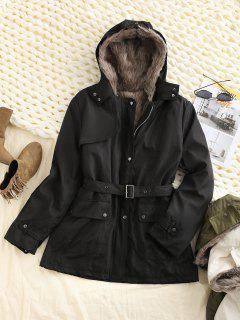 Hooded Removable Two Way Faux Fur Belted Parka Coat - Black M