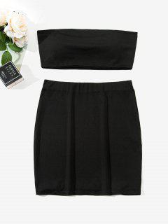 ZAFUL Two Piece Padded Bandeau Top And Skirt Set - Black Xl
