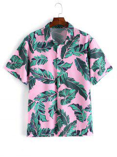 Casual Leaf Pattern Button Short Sleeves Shirt - Pink M