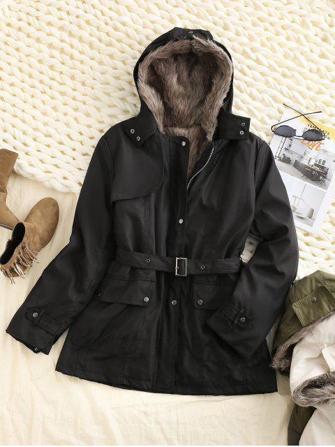 womens Hooded Removable Two Way Faux Fur Belted Parka Coat - BLACK S Mobile