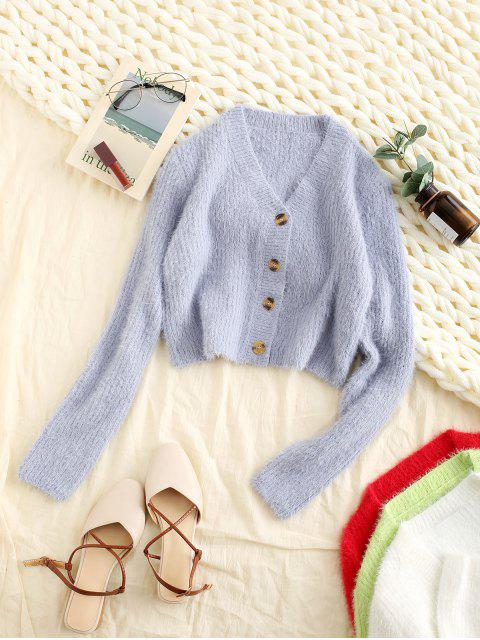 women Fuzzy Buttons Cropped Cardigan - BLUE S Mobile
