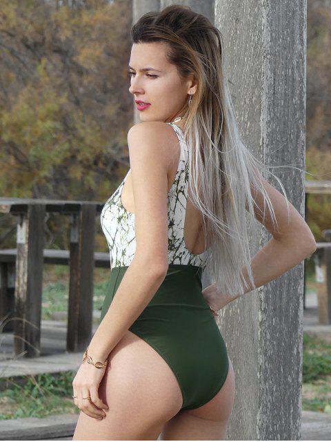 ZAFUL紮染摳圖高腿連體泳衣 - 淡褐綠色 L Mobile